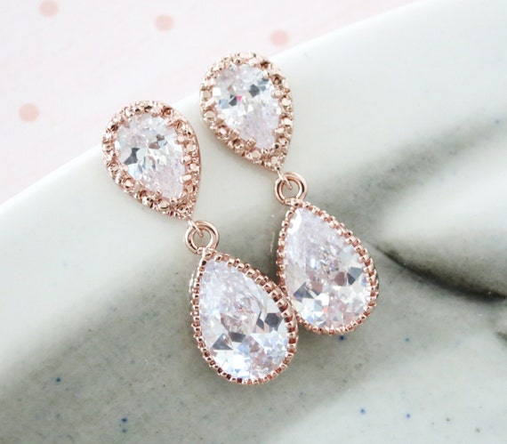 Rose Gold Cubic Zirconia Teardrop Earring - gifts for her, bridal gifts, drop dangle, pink gold weddings, bridesmaid earrings, Darcy