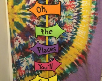 Oh, the places you'll go! Sign dr seuss birthday baby shower graduation nursery classroom decor