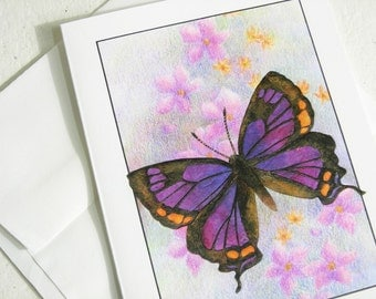 Colorado Hairstreak Butterfly Card, Purple Butterfly Collage Art Card, Insect Art