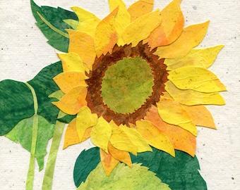 Yellow Sunflower Art Print, Country Garden Print, Botanical Art, Garden Gift