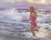 FREE AS A BIRD , reproduced as an art print  of girl running through the surf, Mother's day gift, Lucelle Raad Art