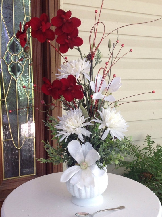 Silk Flower Centerpiece Christmas Centerpiece Red Orchid