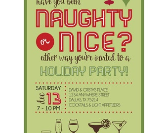 Naughty or Nice Holiday Party Digital Invitation