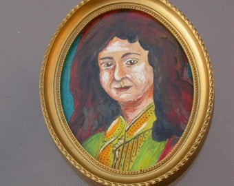 Magnificent french antique Portrait Miniature Hand painted oil painting  gold tone frame man noble  portrait .