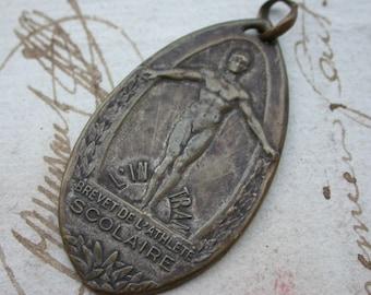 French vintage medal coat of arms  flower ornate antique medal brevet de l'athlete sport solid bronze medal