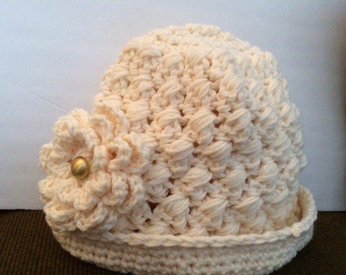 Cream Puff crocheted hat-Womens Hats-Crocheted Flowers-Cream Hats-Winter Hats-Puffy Hats