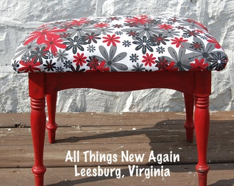 Funky Little Red Bench with Floral Fabric