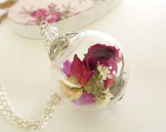 Real Rose Necklace, Pink Rose, Real Flower Jewelry, Rose Jewelry, Romantic Jewelry, Gift for Her, Birthday Gift, Gift for Her