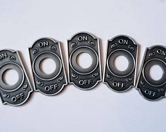 Switch Cover - 5-Pack Antique Nickel - Toggle Switch Plate - Steampunk - Switch Washer - Switch Panel -
