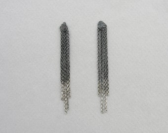 Chain earrings, long tassel chain earrings, dangling oxidised ombre, minimalist sterling silver, gradient