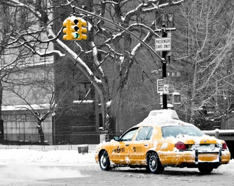 NYC Taxi in the Snow _ New York City, Fine Art Photography