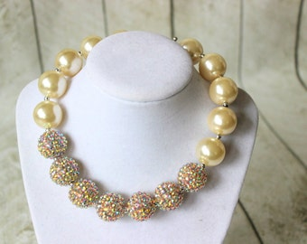 girls chunky bead necklace girls gold and cream bubblegum bead necklace white flower chunky bead necklace chunky bubblegum necklace