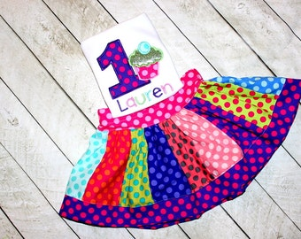 First Birthday cupcake outfit Candy skirt set polka dot polkadot skirt set girls polka dot rainbow outfit clothing toddler bday skirt pink