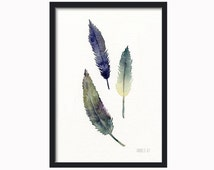 3 feather art print with yellow and green colors from original watercolor painting from TheClayPlay - print of bird feathers - giclee art