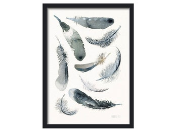 Black and white | Feather art print - 9 soaring downs and feathers | Art print black and white feather watercolor painting by Annemette Klit