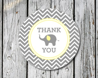 Chevron Elephant Baby Shower Tags-Stickers- Instant Download Digital File PDF