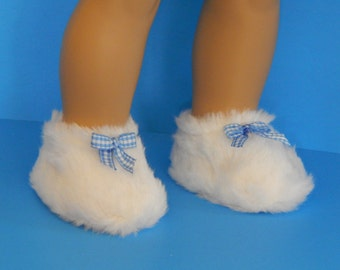 Doll Slippers - 18 inch Doll -  Doll White Slippers - Doll Fuzzy Slippers - Doll Shoes - Slippers for Dolls - Gifts for Girls - Girls Toys