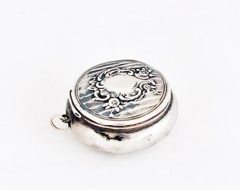 Antique French Powder Compact Pendant Locket Pill Box