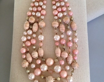 Pink Four Strand Pearl and Bead Necklace
