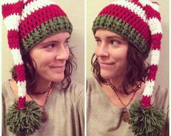 Santa Hat Adult Crochet Custom Striped Christmas Hat Elf Hat Holiday Hat Santacon