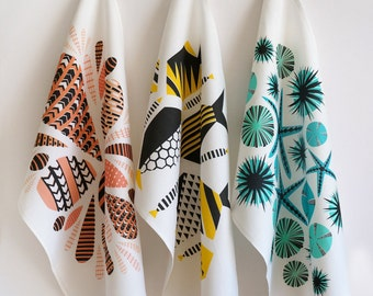 Set of 3 tea towels  •  geometric + modern  •  ocean inspired  •  coral, yellow, turquoise