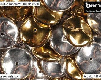 10 pcs California Silver Preciosa Ripple beads, 12x4 mm (9361)