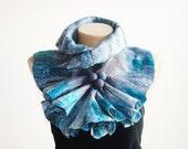 Medium Size Felted Scarf Gray Turquoise Wool Scarf Neckpiece Collar Wrap Scarf Shibori Holiday Gift