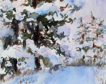 Winter painting frozen Jack Pine Trail watercolor original ski trail