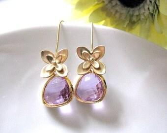 Gold Narcissus Violet Glass Drop Earrings, Gold Flower Glass Jewel Earrings, Purple Lavender Wedding Earrings, Bridesmaid Earrings