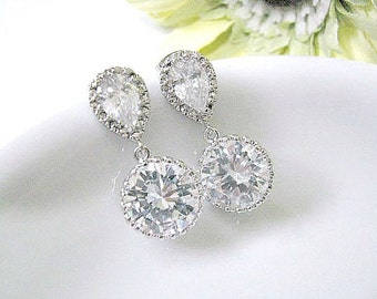 Bridal Crystal Drop Earrings, Rhodium Plated Cubic Zirconia Ear Posts With Framed Cubic Zirconia Crystal Round Dangle, Bridesmaid Earrings