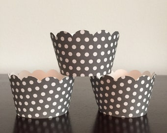 12 Cupcake Wrappers - Gray w/ White Polka Dots