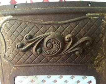 Vintage Cast Iron Furnace Front