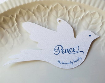 Baptism Favor Gift Tags, Wedding Favor Tags, Love Bird Doves, Showers, Custom Product Label - Set of 20
