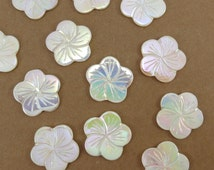 Shell Flower Beads, 8 Mother of Pearl Flower Beads, White  Iridescent Flowers, Colorful Flower Beads in Blue, Pink and Orange, Item 382gs