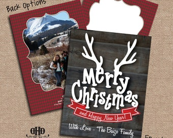 CUSTOM Christmas Card - Antler Merry Christmas