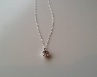 Everyday Crystal Necklace, Crystal Pendant, Sterling Silver Chain, Delicate
