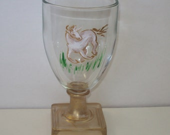 NEW Hand Painted Water Goblet with a UNICORN