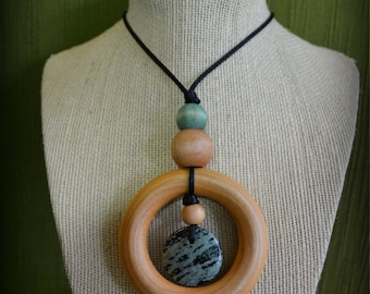 Laughing Jasper Nursing Necklace with 2.5in Organic Maple Teether and Hand-dyed Maple Bead