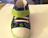 Loley pops creation Seahawks baby shoes - this creation is made by me and not affiliated with NFL