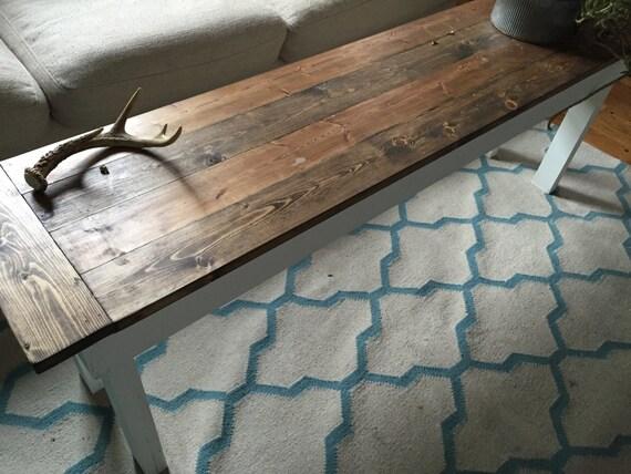 Wood and White Coffee table handmade custom long skinny