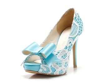 Custom Made Something Blue Wedding Shoes, Sky Blue Wedding Shoes, Something Blue, Bridal Shoes, Custom Made Blue Satin Heel