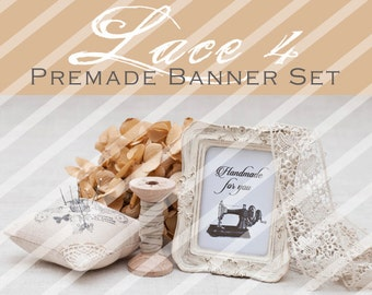 """Banner Set - Shop banner set - Premade Banner Set - Graphic Banners - Facebook Cover - Avatars - Bisiness Card - """"Lace 4"""""""