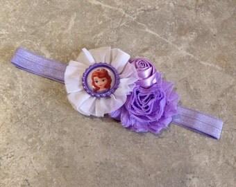 The Sofia headband, Baby Hair Bow, baby headbands, lavender headband, baby girl headband, Sofia the first headband