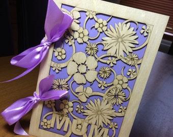 Beautiful laser cut birch wood 'Mothers Day' card