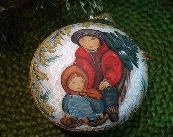 Lovely Handpainted Handblown Glass Christmas Ornament