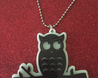 Owl on a branch acrylic necklace