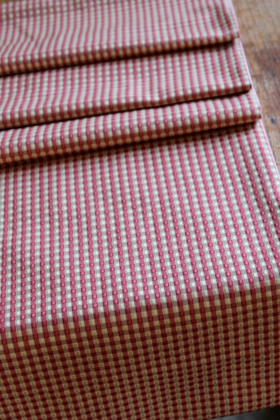 Red and tan check table runner- farmhouse or french country table runner - cottage chic table runner