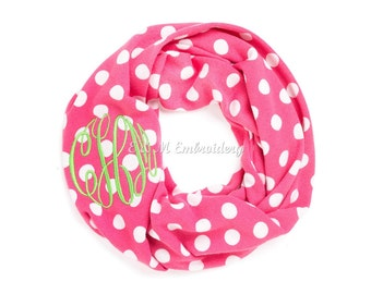 Personalized Monogrammed Pink White Polka Dot Kid's Infinity Scarf
