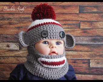 CROCHET PATTERN Monkey Balaclava. Pattern number 057. Instant Download