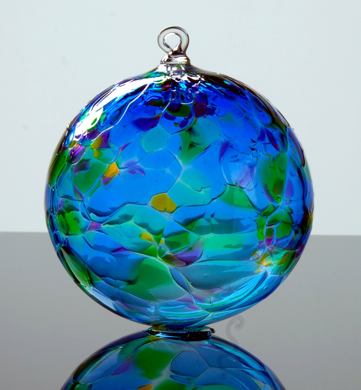 Hand blown glass ornament special blue multi color mix